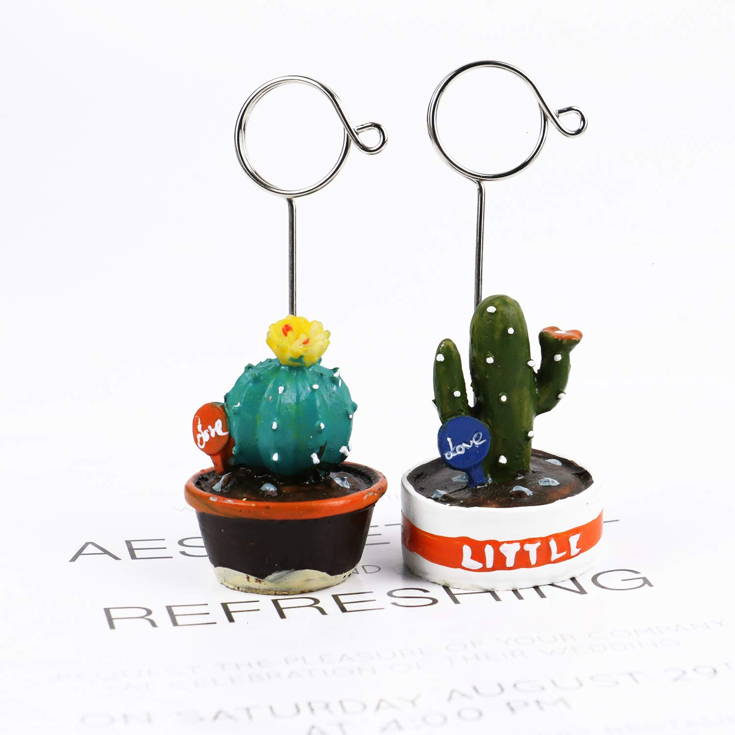 WEFOO 4Pcs Colorful Cactus Bonsai Shape Name Card Holder Photo Clip Table Decoration Memo Stand for Office Supplies Accessories
