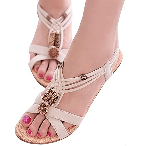 (PlaisteL)歩きやすい4cmローヒールアンクルストラップサンダル靴可愛いウッドビーズレディース(クリーム25cm)