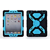 Pepk iPad mini Silicone Plastic Protective Dual Layer Shock Absorbing Kid-Proof Case Built in Stand Designed for the Apple iPad mini 1/2/3 (Black/Blue)