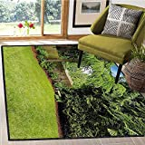 Farmland, Bath Mat 3D Digital Printing Mat, Backyard Area Shadow Under Pine Trees Featured Rustic Fence Zen Outdoor Photography, Bath Mat for tub Bathroom Mat 6x9 Ft Green