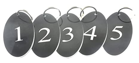 73d91a53f Amazon.com : Key Fobs, Key tags, Key Rings, Numbered 1 to 5 - Black ...