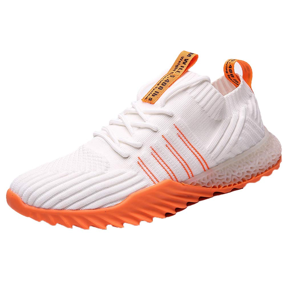 Men Sneakers Fashion Athletic Lightweight Walking Running Tennis Jogging Shoes (US:9.5, White) by Suoxo Men Shoes