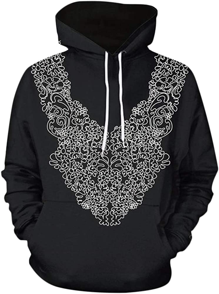 CNSTORE Men Geometric Pattern Pullover Drawstring Hoodie