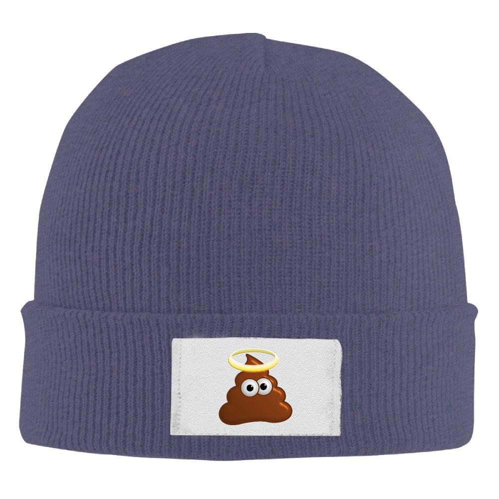 Unisex Acrylic Emoji Poop Smiley Beanie Hat Black