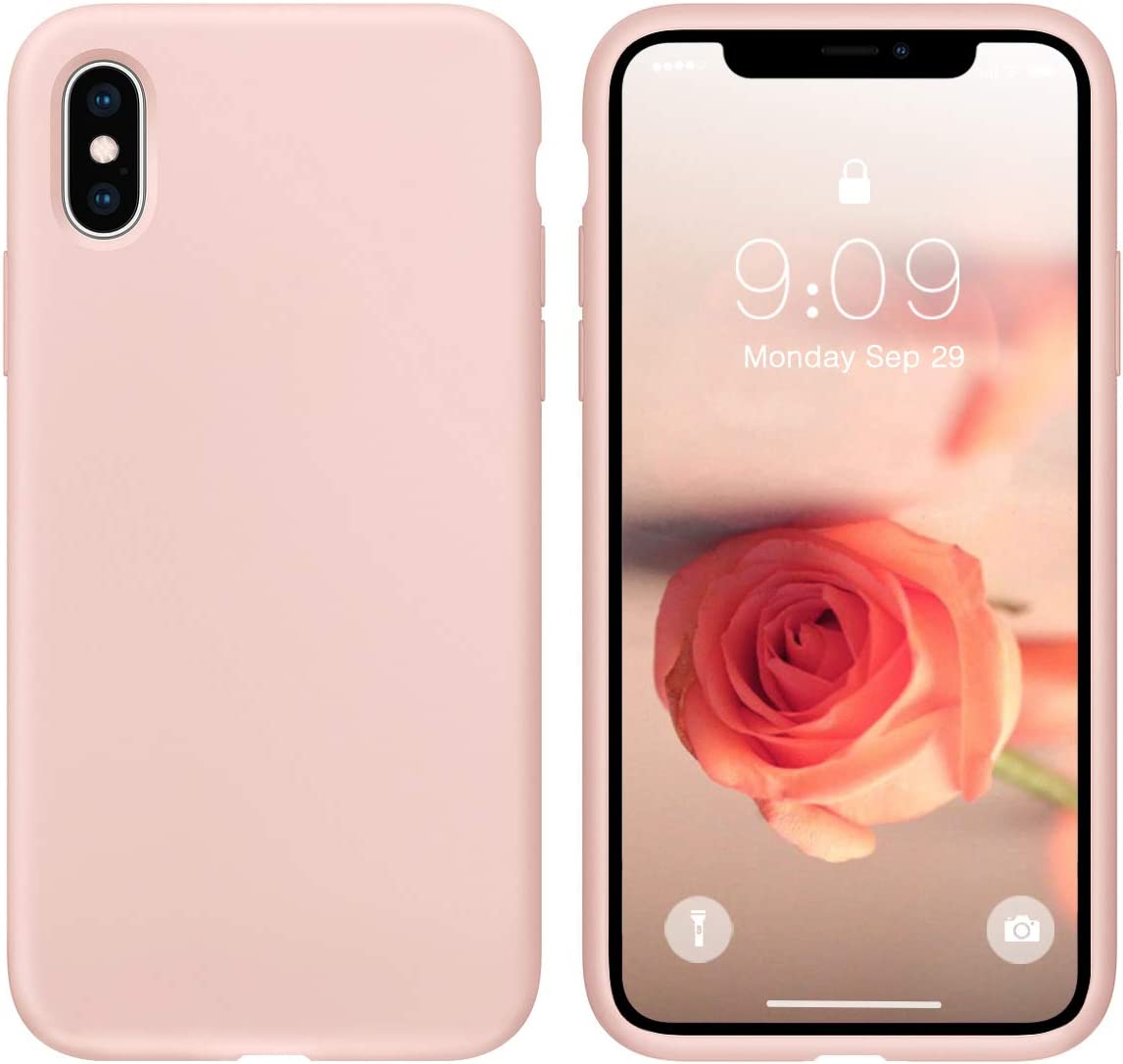 cillen Case for iPhone X/iPhone Xs 5.8 inch Liquid Silicone Gel Rubber Phone Case, Full Body Slim Soft Microfiber Lining Cushion Shockproof Protective Case Compatible with iPhone X/iPhone Xs,Pink Sand