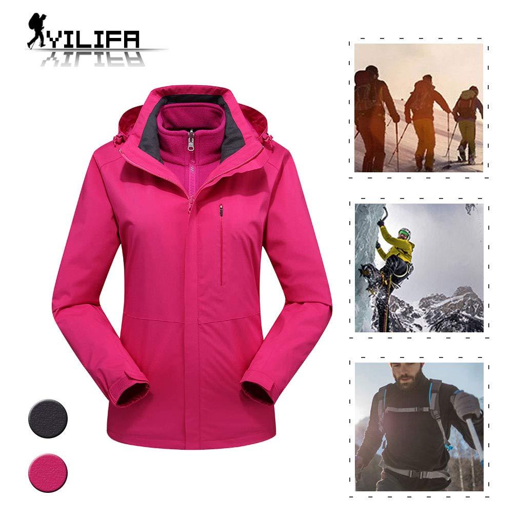 YILIFA Winddichte Damenjacke, 3 in 1 mit Kapuzenwindjacke, für Outdoor-, Wander-, Ski- und Trekkingreisen,Rosered,3XL