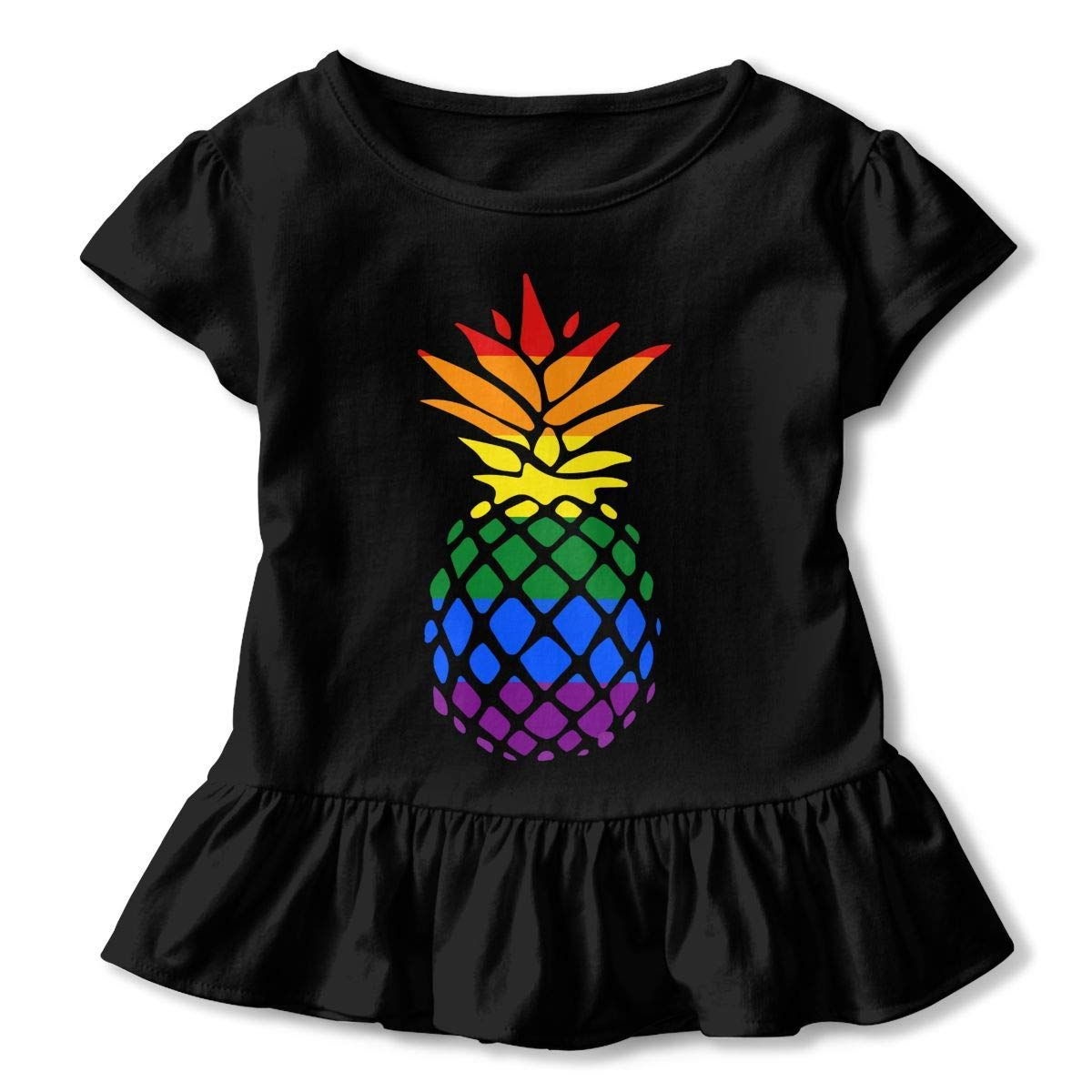 Kawaii Tunic Tops with Falbala PMsunglasses Short-Sleeve Pride Pineapple T-Shirts for Children 2-6T