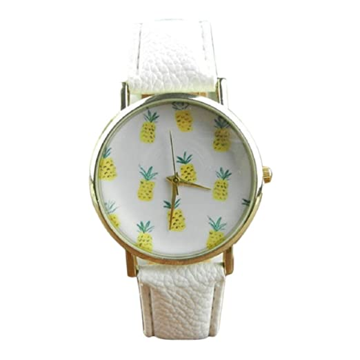 Lookatool Pineapple Pattern Leather Band Analog Quartz Vogue Wrist Watch