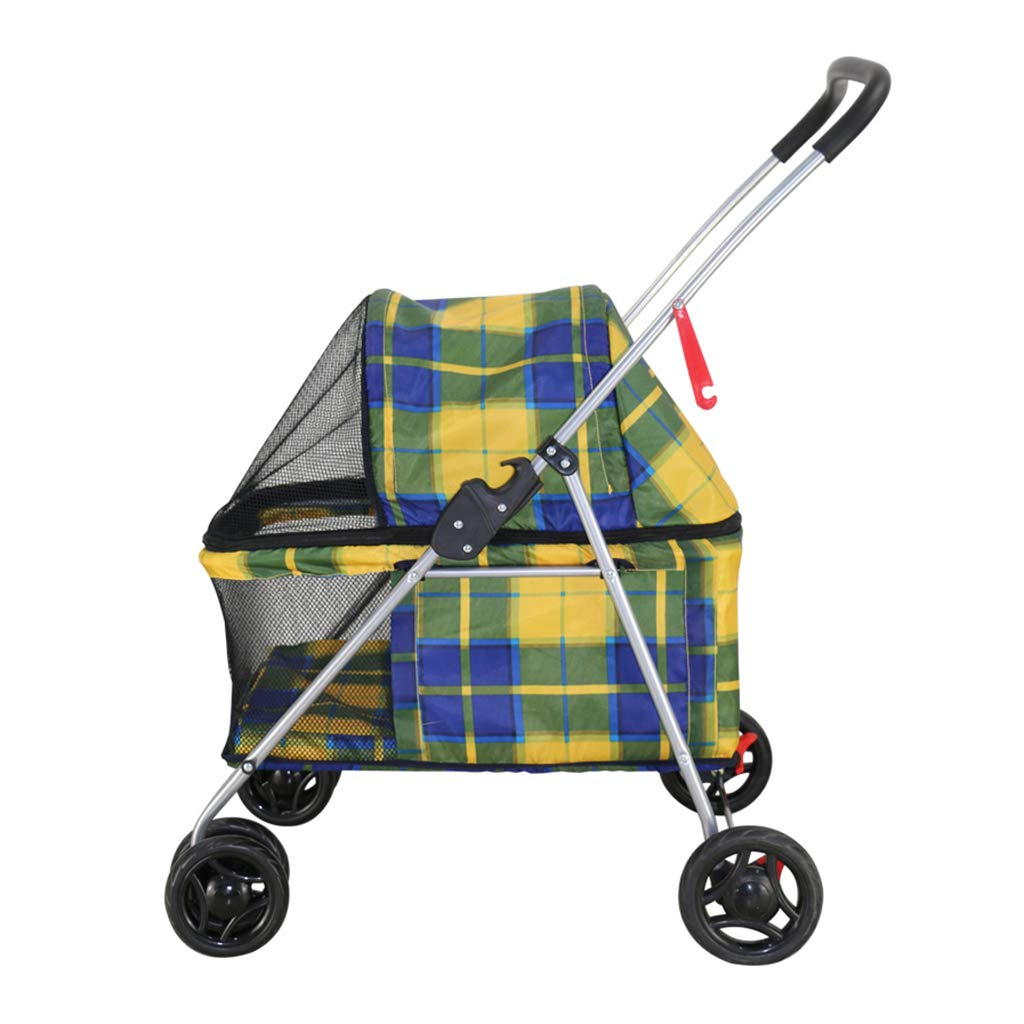 Pet Travel Stroller, Folding Trolley Lightweight,Dog Cart Free Tool Inssizetion,2 Swivel Wheels Multifunction Pushchair Pram Jogger for Puppy Cat Pets,C