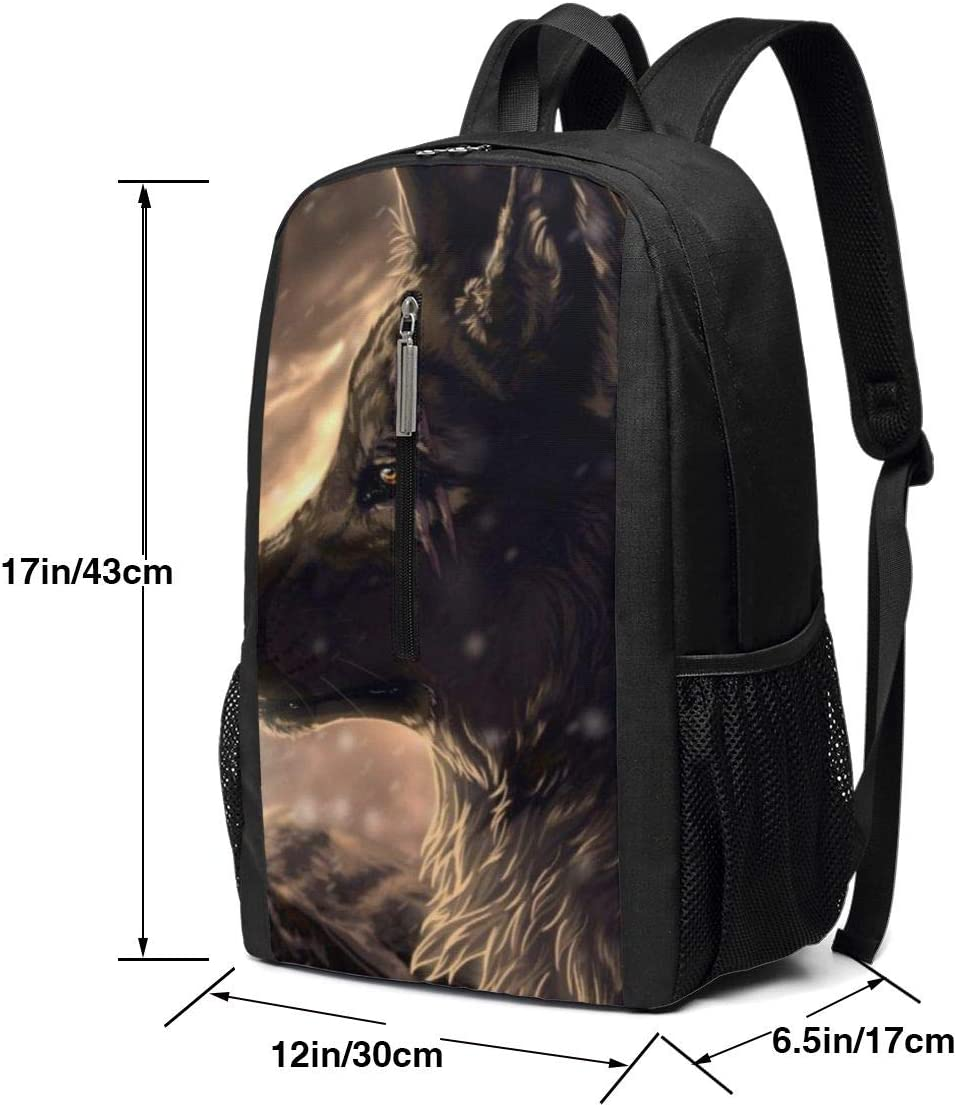 Large Camping Outdoor Backpacks Fantasy Wolf College Student Rucksack Book Bag