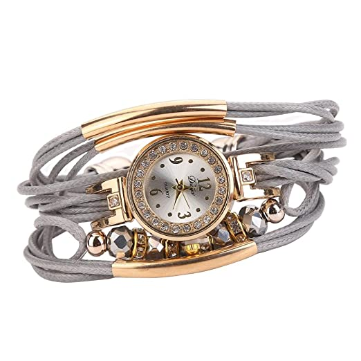 Pulsera del Reloj, K-youth® Reloj de pulsera Cuarzo Brazalete Cuero Trenzado Retro para Mujer Moda Relojes de mujer Baratos y bonitos (Gris): Amazon.es: ...