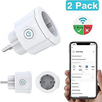 MoKo WiFi Enchufe Inteligente, 16A Inalámbrico Smart Mini Plug de Energía del Zócalo del Interruptor Funciona con Alexa Echo Google Home, App Control por Voz y Función de Temporizador - 2 Pack: