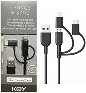 KEY Charge & Sync (1M/3FT) 3-in-1 Cable Micro USB with MFI Certified Lightning & USB-C Adaptors for Apple, Samsung, Huawei, Moto, Etc. (Black) (Single Pack)