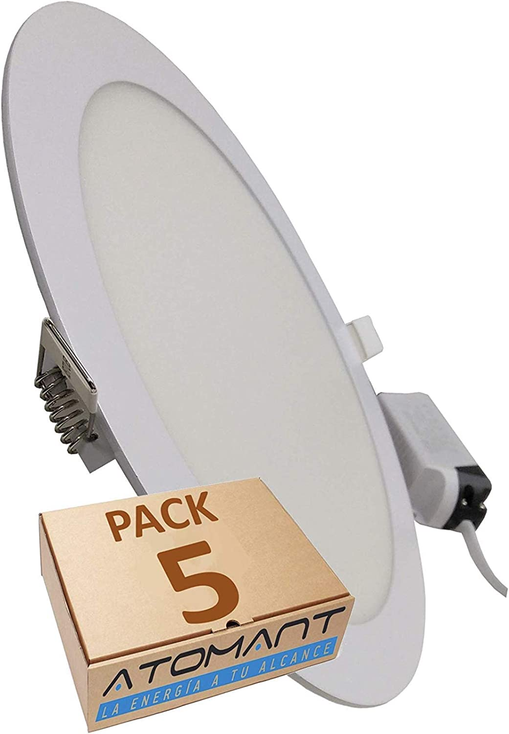 Pack 5x Panel Downlight LED redondo plano, 18w. Color Blanco Frío (6500K). 1600 Lumenes. Driver incluido. A++