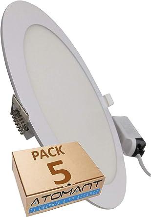 Pack 5x Panel Downlight LED Redondo Plano, 18w. Color Blanco ...