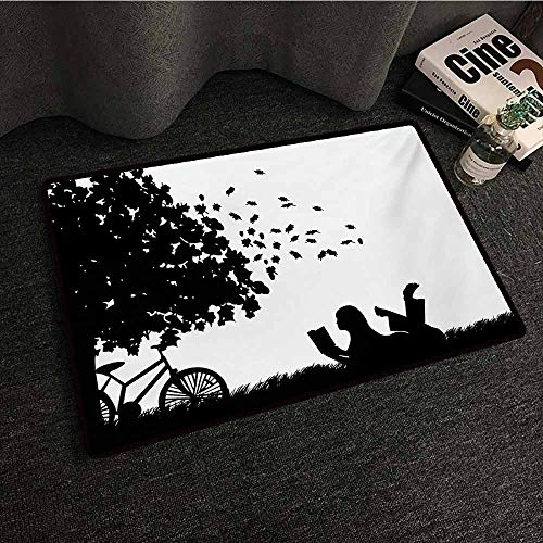 Zzmdear Black and White Non-Slip Door mat Silhouette of a Girl with Bike Reading a Book Under a Tree in Fall with Anti-Slip Support W24 xL35 Black and White