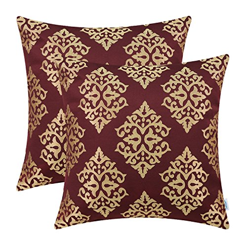 Pack of 2 CaliTime Soft Throw Pillow Covers Cases for Couch Sofa Home Decor, Vintage Damask Floral, 18 X 18 Inches, Burgundy/Gold (And Accent Gold Pillows Red)