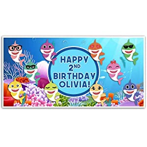 Baby Shark Birthday Banner Personalized Party Backdrop