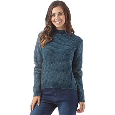 Fluid Womens Turtle Neck Cropped Chenille Sweater Dark Turquoise (UK 14  Euro 40 Bust 38