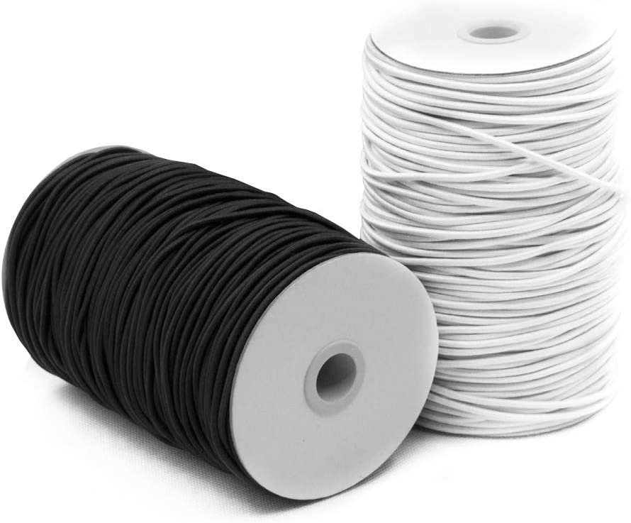 Amazon Com 2 Pack 2 Mm 5 64 Inch Elastic Cord Stretch String Sourceton Elastic Beading Cord Black White 55 Yard Great For Crafts Hair Ties And Home Uses