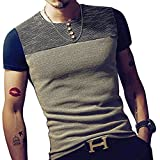 Mens Summer Breathable Slim Fit Block Stitch Button Crew Neck Long Sleeve Henley T-Shirts (Blue Short Sleeve, Medium)