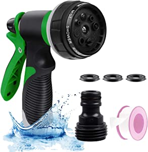 Heavy Duty Garden Water Hose Sprayer Nozzle,High Pressure 8 Watering Patterns Nozzle Hand Sprayer Gun for Watering Plants, Cleaning, Car Washing, Showering Pets