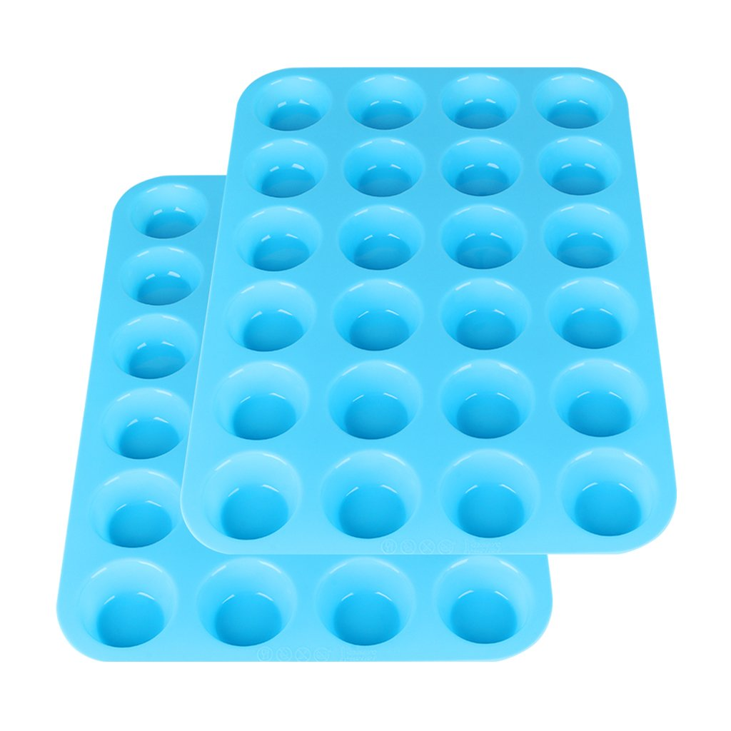 Silicone Mini Muffin Pan, 24 Silicone Baking Cups Silicone Molds Cupcake Baking Pan(Blue) by Suntake