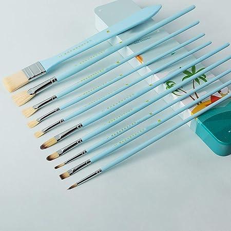 BGcrsl - Juego de Pinceles para Pintar, Incluye 10 Pinceles Diferentes en un Estuche con Cierre de Caja de Hierro, Apto para Artistas Adultos y niños, Azul: Amazon.es: Hogar