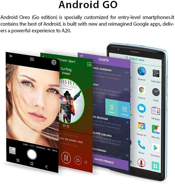 Blackview A20 - Smartphone Libre (batería de 3000 mAh, Android GO 3G, Pantalla táctil de 5,5 Pulgadas + 18:9, 8 GB de ROM, sin Contrato, cámara de 5 MP + 2 MP + 0,3 MP, Dual SIM), Color Azul: Amazon.es: Electrónica