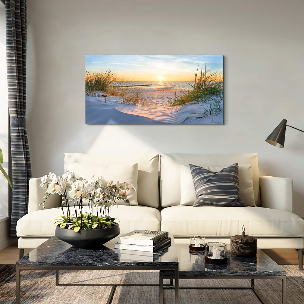 Wall Art for living room Print Artwork Wall Art Decor Poster Blue sun beach grass ocean Landscape painting bedroom bathroom Decorations Seascape Canvas Prints Picture Home Office wall Decor Works by MHART66 (Image #7)