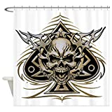 Shower Curtain Skull Spade Chains and Flames