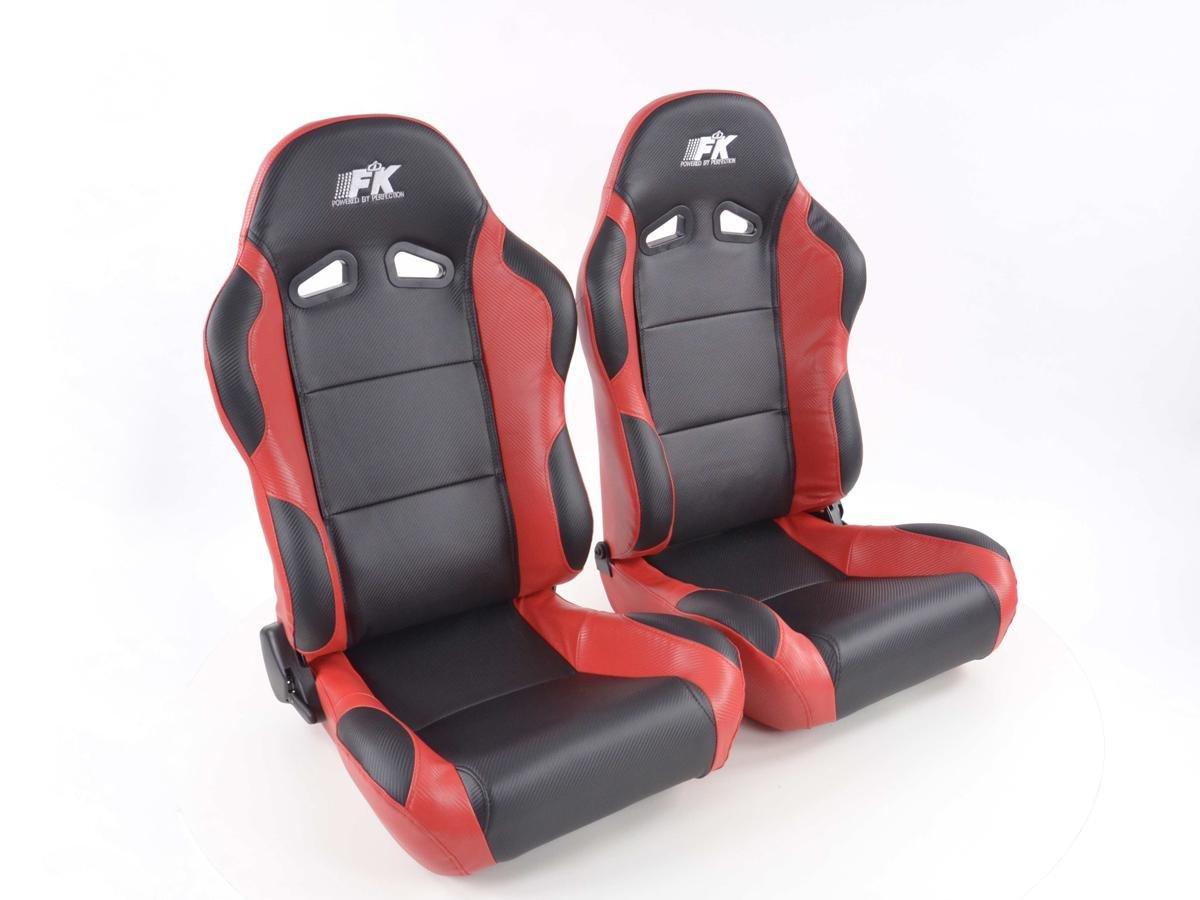 FK-Automotive, Set sedile sportivo Spacelook, effetto carbonio, 1 X sedile sinistro + 1 X destro, colore nero e rosso 1X sedile sinistro + 1X destro