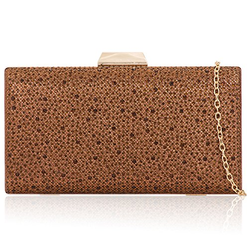 Party Bags Diamante For Prom Minaudiere Bridal Handheld Clutch Wedding Boxy Xardi Evening Glitter Women's Brown London qB77v