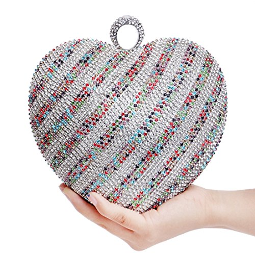 bag And American Diamond Gradient Multicolor1 studded Color Bag Fashion evening Evening Banquet Bride Light Color Bag New Heart shaped Gold Clutch European Dress Fly v4HnPAq4