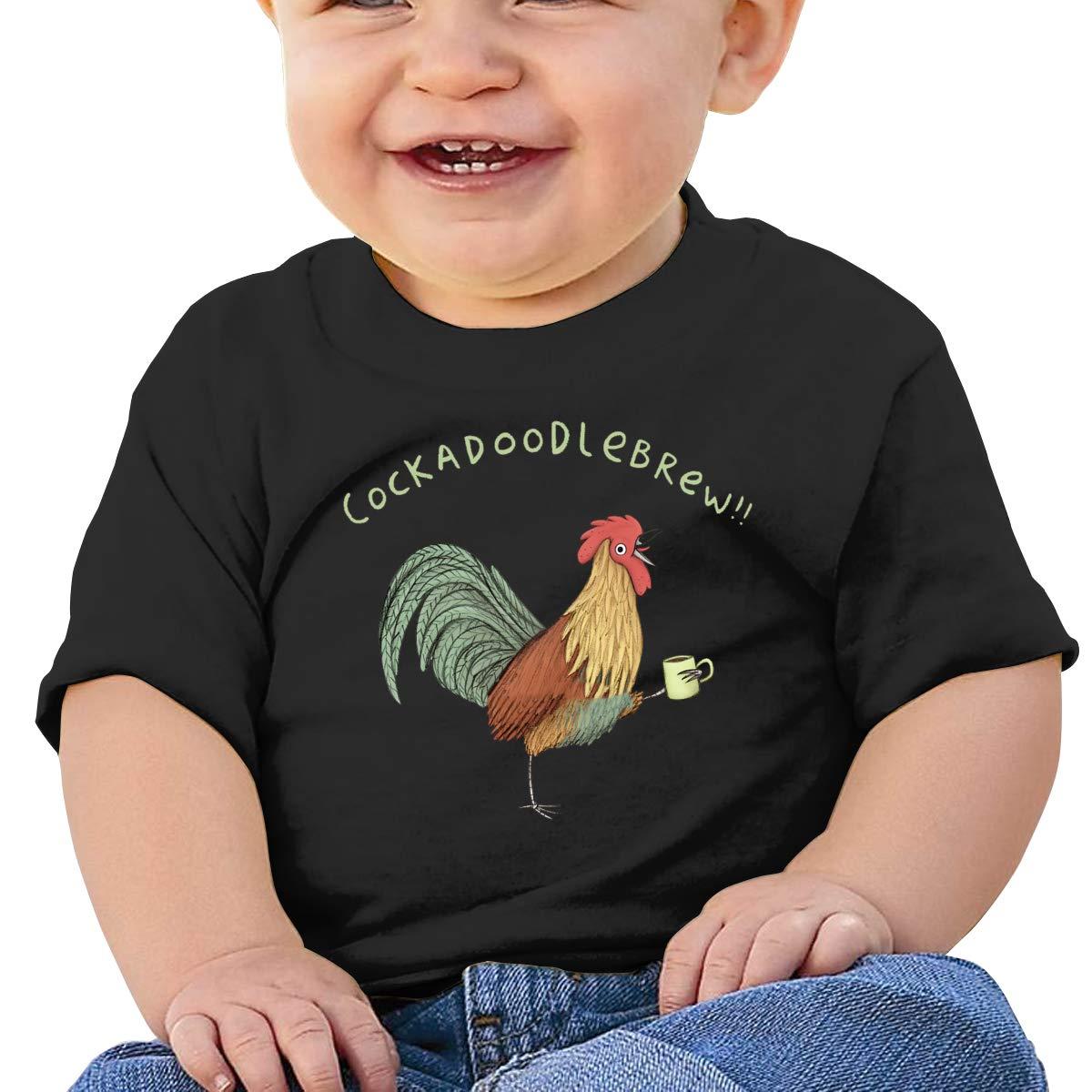 SakanpoRooster Toast Toddler//Infant Short Sleeve Cotton T Shirts Black