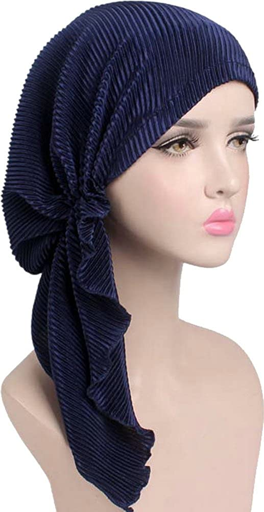 f24ad154062 Ababalaya Women s Soft Stretch Solid Pre-Tied Pleated Muslim Headscarf  Turban Bandana