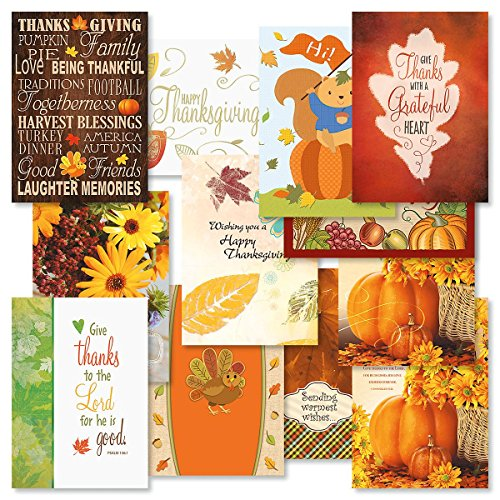 Thanksgiving Greeting Cards Value Pack- Set of 12 Thanksgiving Greeting Cards