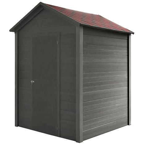 XINGLIEU cobertizo de Almacenamiento para Garaje o jardín, 188 x 188 x 264 cm, Color Gris, cobertizos al Aire Libre, Material: Marco de WPC + Techo de ...