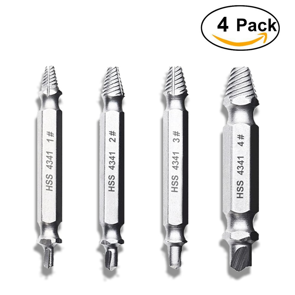 Damaged Screw Remover and Extractor Set, Easy Out Screw Extractor, Stripped Bolt Remover Drill Bit Set, High Speed Steel HSS Screw Removal Kit for Damaged Screws and Bolts, Set of 4 Skr