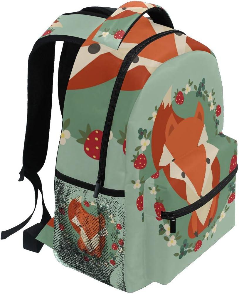DEZIRO Cartoon Fox Pattern Laptop Backpack School Pack