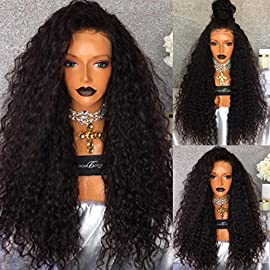 PlatinumHair Lace Front Wigs 180% Density Long Curly Synthetic Wigs for Black Women Heat Resistant Glueless Loose Curl Wig (Black)