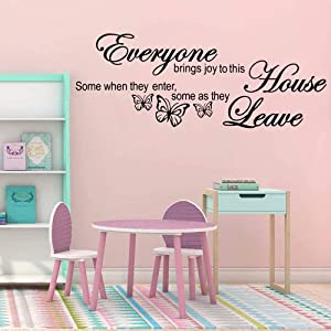 Supzone Everyone Brings Joy to This House Wall Stickers Inspirational Lettering Sticker Quotes Sayings Butterflies Wall Decals Removable Vinyl Living Room Bedroom Nursery Room Butterfly Wall Decor
