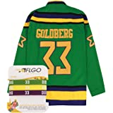 e63b9ede259 AFLGO Goldberg #33 Mighty Ducks Ice Hockey Jersey S-XXXL Green, Greg  Stitched