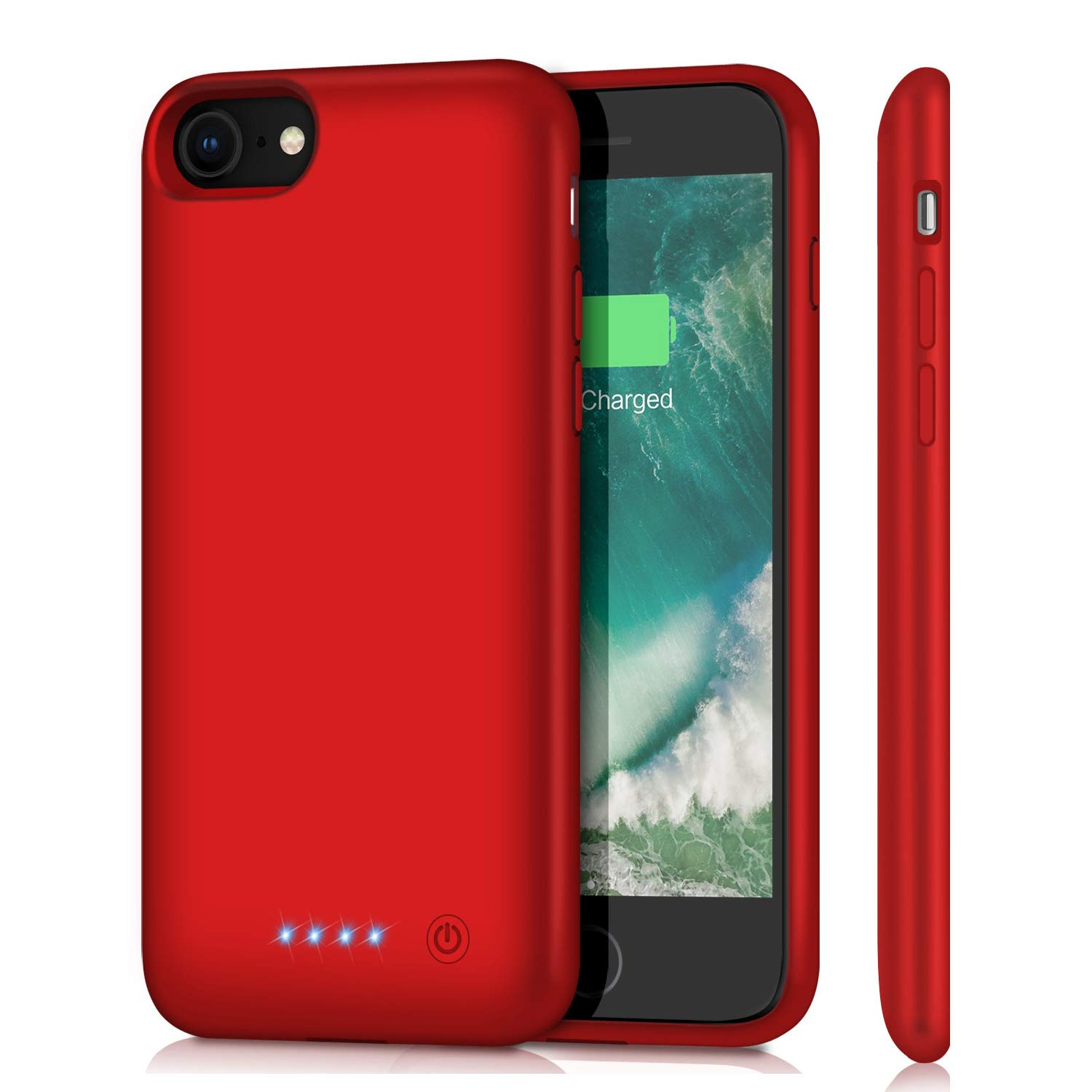 Battery Case for iPhone 8/7, Upgraded 6000mAh Rechargeable Portable Charger Case Extended Battery Pack for Apple iPhone 8 & iPhone 7 Protective Charging Case (4.7 inch)- Red Feob Fe-i7-01-RD-6000