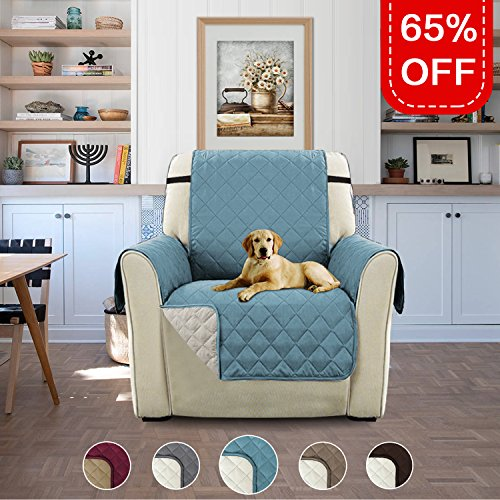niture Protector with Elastic Straps, Features Protect from Pets, Spills, Wear and Tear (Recliner: Stone Blue/Beige)-79'' by 68'' (Recliner Stone)
