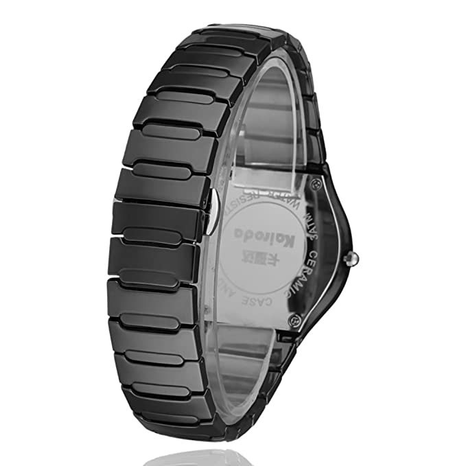 2df3e6536f173 Amazon.com  Black ceramic watch Men and ladies waterproof watches Business  casual watches-A  Watches