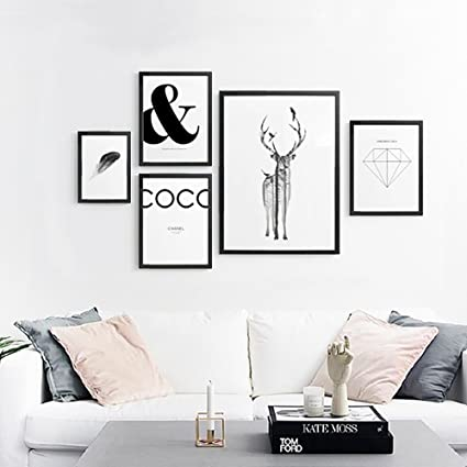Decorative Painting Elk Landscape Black And White Photo Frames Wall  Paintings Dining Room Study Dining Room