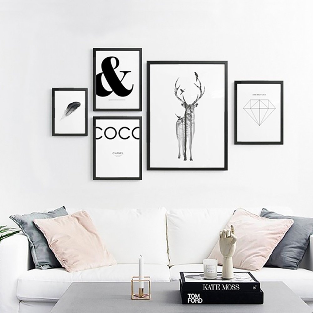 Decorative painting elk landscape black and white photo frames wall paintings dining room study dining room Nordic simple ( PATTERN : B )