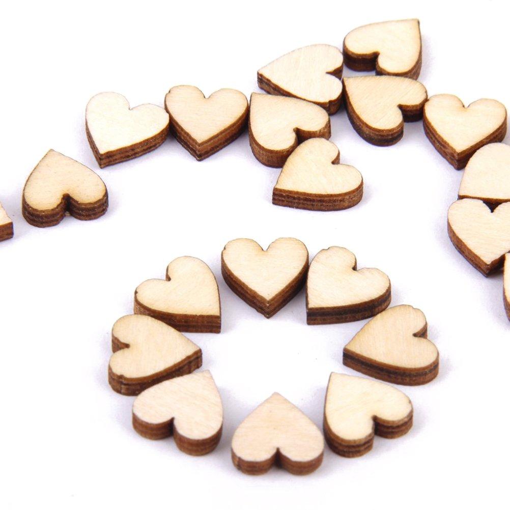 LEORX Cuore di legno vuoto abbellimenti per lartigianato 100pcs