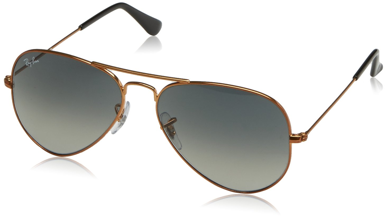 Ray-Ban Men's Large Metal Aviator Sunglasses, Shiny Bronze, 55 mm